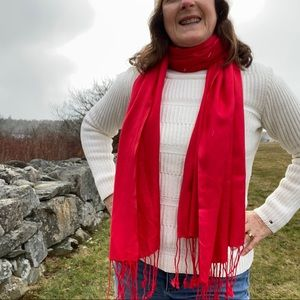 Bright red viscose scarf